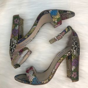 Steve Madden Floral Silk Open Toe Heels
